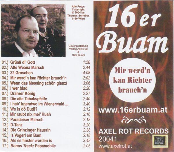 16er Buam, 1. CD, alte Wienerlieder, Patrick Rutka, Klaus Steurer