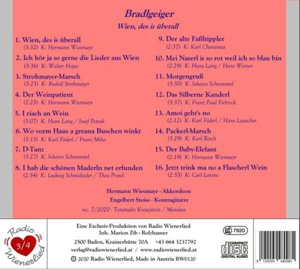 Stoiss, Wiesmayr, eigene Kompositionen, Wienermusik, Radio Wienerlied, Salzburg, Harmonika, Kontragitarre