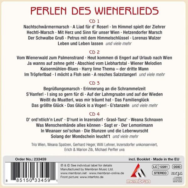 Perlen des Wienerlieds, Inzersdorfer unkonserviert, Willi Lehner, Kurt Girk, Gerhard Heger, Weana Spatzen, Gradinger, Koschelu, Perfler, Lehrkinder, Marion & Erich Zib, Radio Wienerlied, 4 Cds