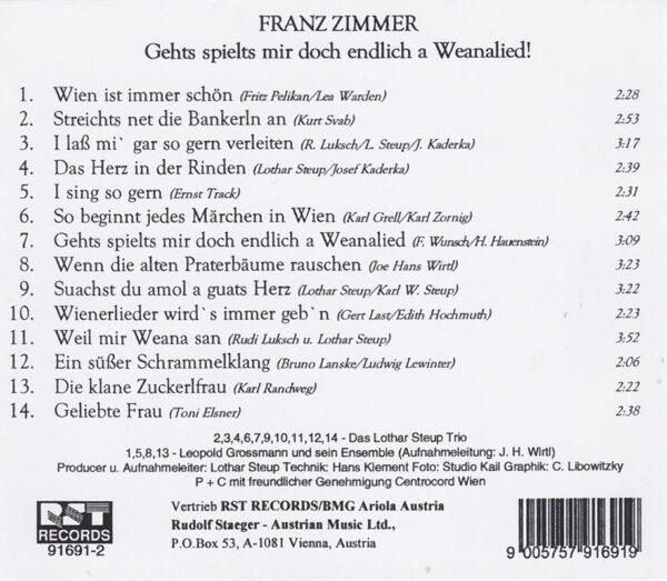 unvergesslicher Franz Zimmer, Wienerlied, Rudi Stäger