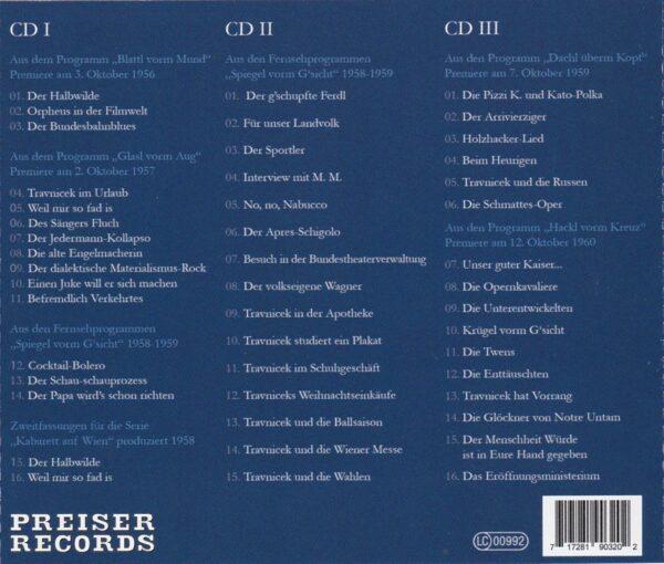 3 CDs, Helmut Qualtinger, Kabarett, Wienerlied, Preiser
