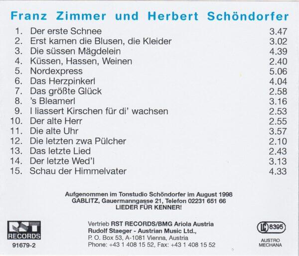Franz Zimmer, Herbert Schöndorfer, traditionelles Wienerlied, CD