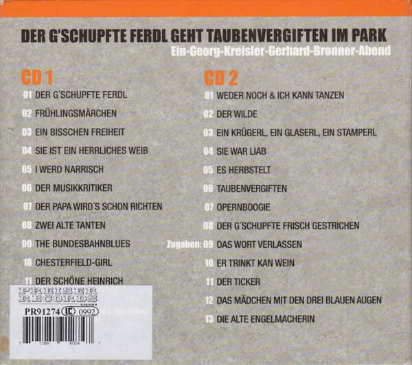 Kreisler, Bronner, Timna Brauer, Wolf Bachofner, Bela Koreny, Doppel CD,