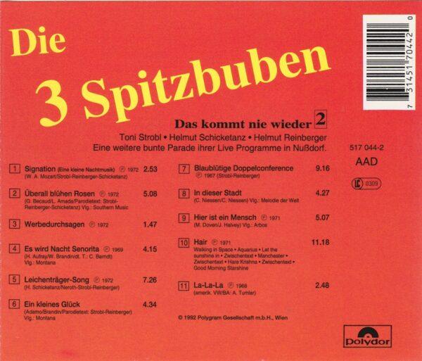 Spitzbuben, Das kommt nie wieder, lustig, Toni Strobl, Helmut Reinberger, Helmut Schicketanz, CD