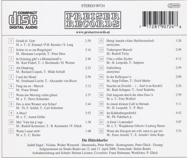Hütteldorfer, Judith Engel, Peter Herbst, Walter Weinzettl, Peter Glück, CD, Wienerlied, Preiser