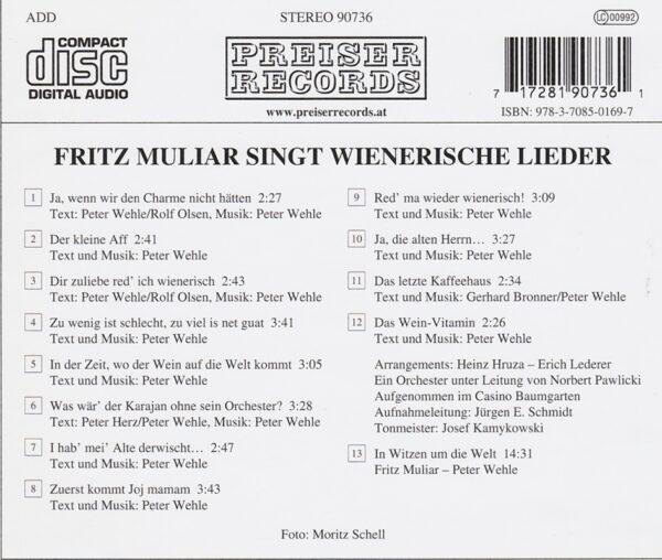 Fritz Muliar, Wienerlieder, Peter Wehle, CD, Preiser