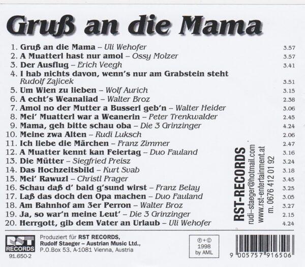 Mutter, Wehofer, Die 3 Grinzinger, Duo Fauland, Kurt Svab, Ossy Molzer, Wienerlied, CD,