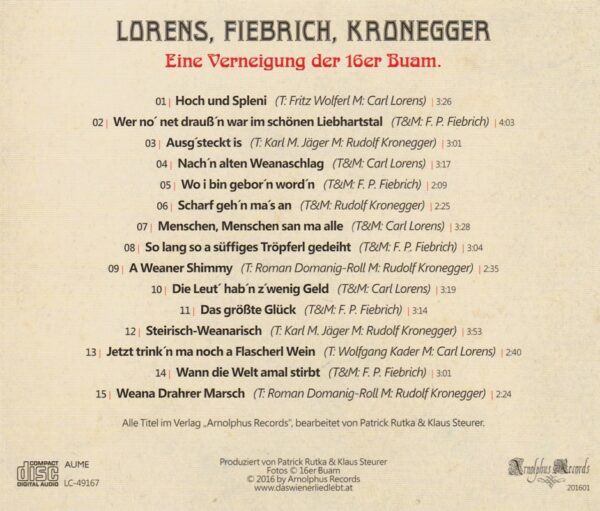 16er Buam, Wienerlied, CD
