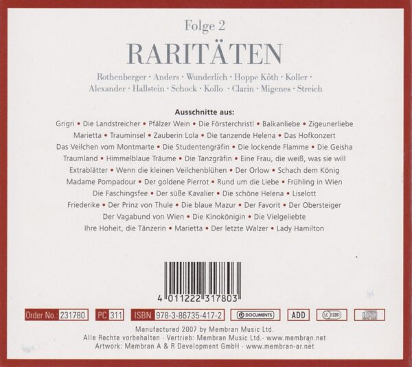 Anneliese Rothenberger, Heinz Hoppe, Karl Terkal, Evelyn Künneke, Dagmar Koller, Peter Minich, Ingeborg Halstein, Fritz Wunderlich, Rudolf Schock, CD, Operetten, Membran