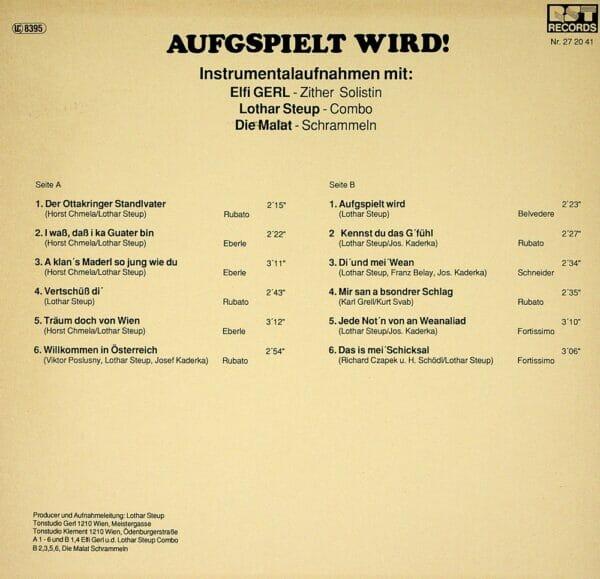 Elfi Gerl, Zither Solistin, Lothar Steup Combo, Malat Schrammeln, Wienerlied, instrumental, Schallplatte, Vinyl