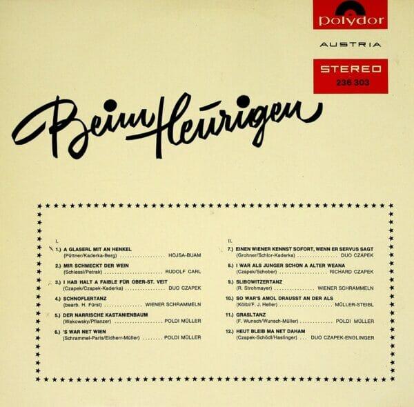 Hojsa Buam, Rudolf Carl, Czapek, Poldi Mueller, Wiener Schrammeln, Englinger, Wienerlied, Schallplatte, Vinyl