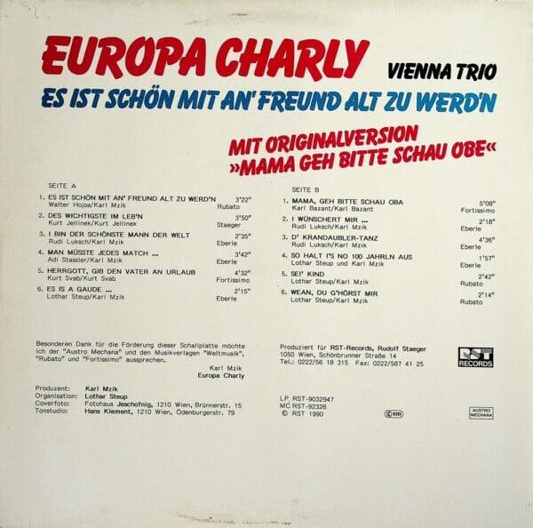 Europa Charly, Vienna Trio, Mama geh bitte schau obe, Originalversion, Wienerlied, Schallplatte, Vinyl, Es ist schön mit an Freund alt zu werden