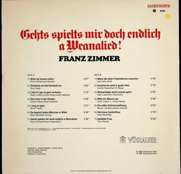 FRanz Zimmer, Buschenschank zum alten Haus, Fam. Binder, Lothar Steup Trio, Leopold Grossmann, Wienerlied, Schallplatte, Vinyl