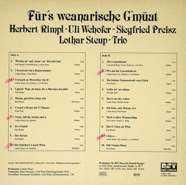 Rimpl, Wehofer, Preisz, Wienerlied, Schallplatte, Vinyl
