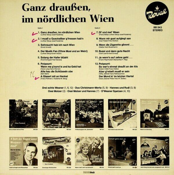 drei echten Weaner, Christmann, Merta, Hannes und Rudi, Schlader, Ossi Molzer, Weaner Spatzen, Wienerlied, Potpourri, Schallplatte, Vinyl