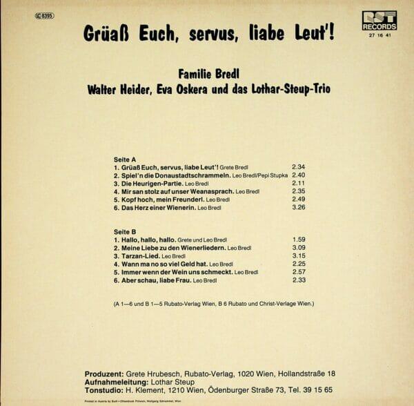 Oskera, Bredl, Familie, Heider, Lothar Steup, Wienerlied, Schallplatte, Vinyl