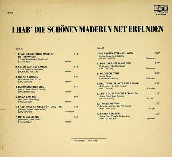 Czapek, Vesely, Wehofer, Zimmer, Grinzinger, Weana Spatzen, Wienerlied, Schallplatte, Vinyl